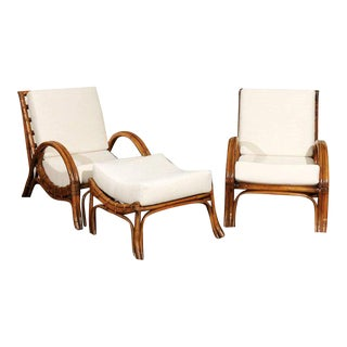 Pair of 1960s Rattan Loungers with Matching Ottoman