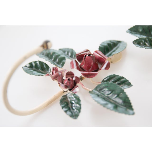 Farmhouse Italian Tole Red Flower Hooks - a Pair For Sale - Image 3 of 5