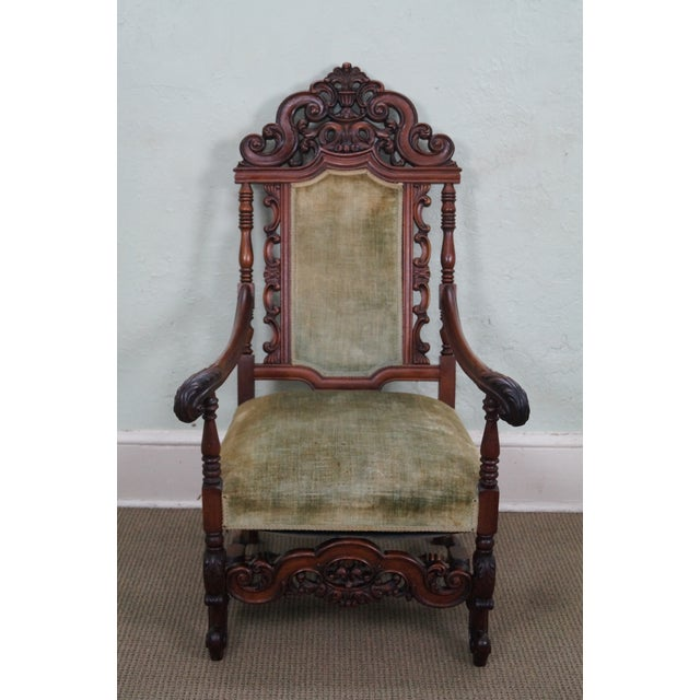 An antique 19th Century, heavily carved solid mahogany renaissance high  back throne arm chair that - Antique 19th Century Heavily Carved Throne Chair Chairish