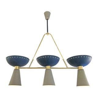 Mid-Century Modern Blue and Gray Chandelier For Sale