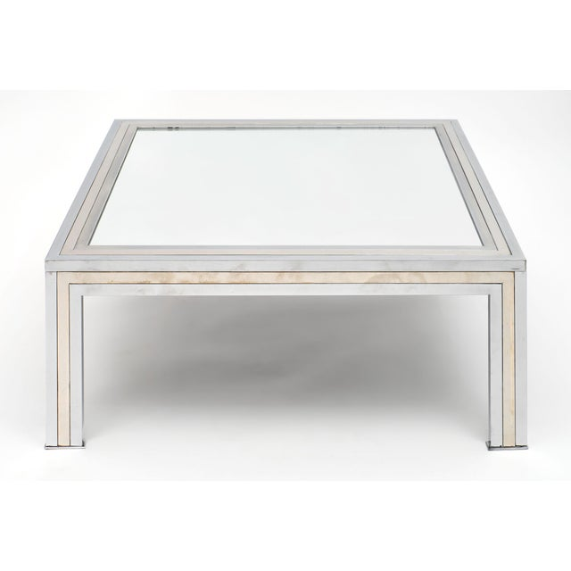 Metal Chrome and Mirror Vintage French Coffee Table For Sale - Image 7 of 10