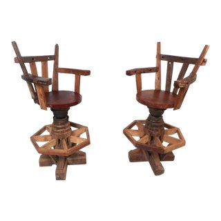 Pair of Rustic Midcentury Live Edge Swivel Bar Stools For Sale