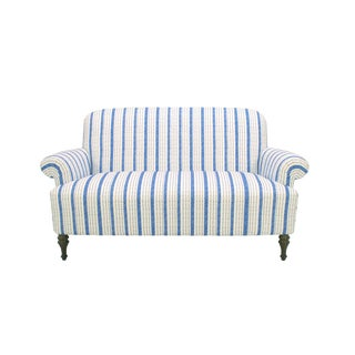 Dana Gibson Josey Loveseat in Blue Ticking For Sale