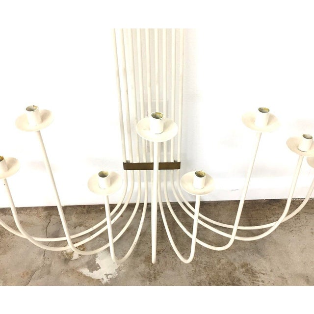 Mid-Century Modern Mid-Century Modern White Painted Wrought Iron & Brass Wall Candelabra For Sale - Image 3 of 5