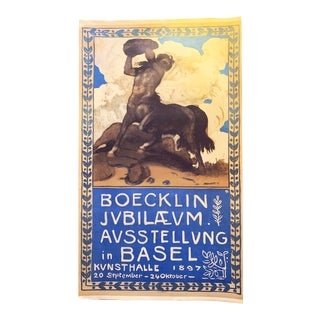 Large Original Vintage Swiss Poster for Art Show of Boecklin 1897 For Sale
