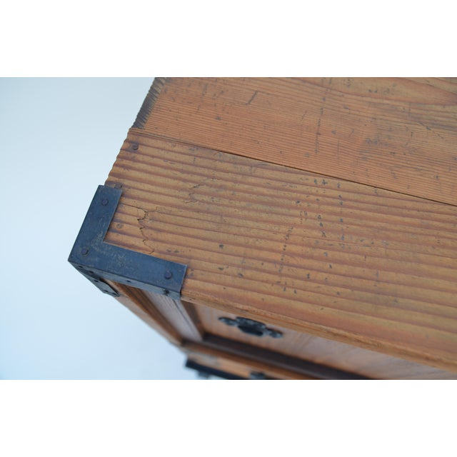 Antique Japanese Choba Tansu With Iron Base For Sale - Image 9 of 12
