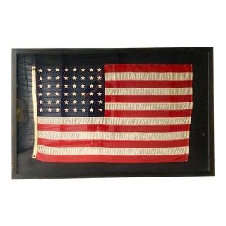 1940s Vintage Framed 48 Star American Flag For Sale