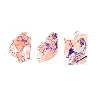 Contemporary Nude Figure Oil Pastel & Paint Gesture Drawings - Set of 3 For Sale