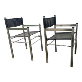 1970s James David Chrome and Leather Director's Chairs - a Pair For Sale