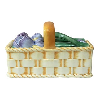 1920s Majolica Iris Basket Signed Sarreguemines For Sale