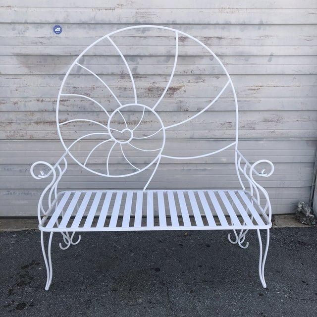 Nautical Shell Wrought Iron Art Nouveau Garden Bench For Sale - Image 10 of 10