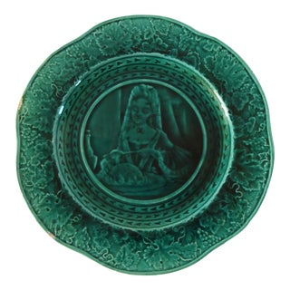 Antique French Majolica Barbotine Rubelles Green Tin-Glazed Plate For Sale