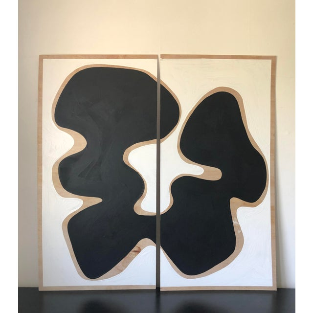2010s Oversized Raw Wood Abstract Acrylic Diptych Painting For Sale - Image 5 of 5
