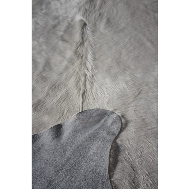 "Natural Creamy White Brazilian Cowhide - 7' X 6'9"" For Sale - Image 4 of 4"