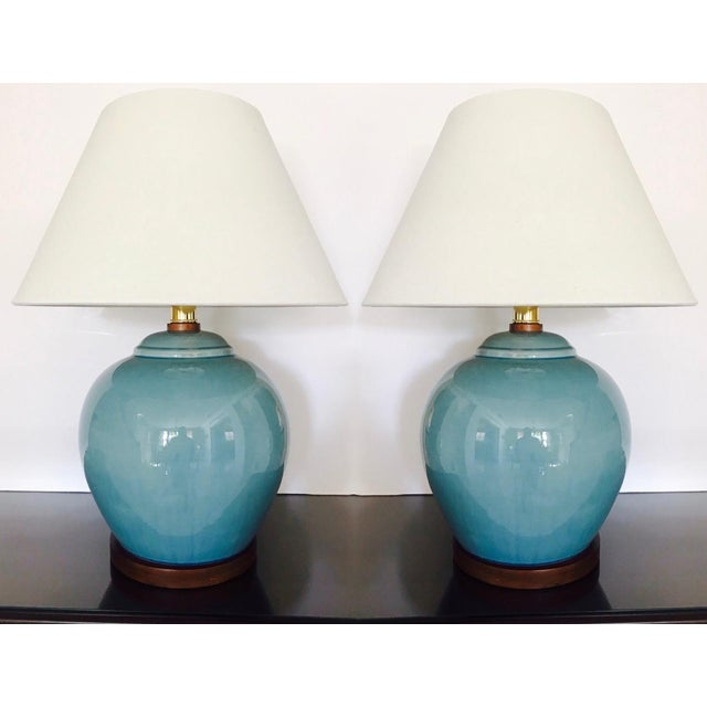 Pair of Vintage Ralph Lauren Chinese Pottery Lamps in Robin's Egg Blue For Sale - Image 13 of 13