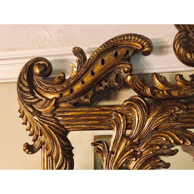 Baroque La Barge Italian Style Foliate Giltwood Wall, Console or Over the Mantle Mirror For Sale - Image 3 of 13