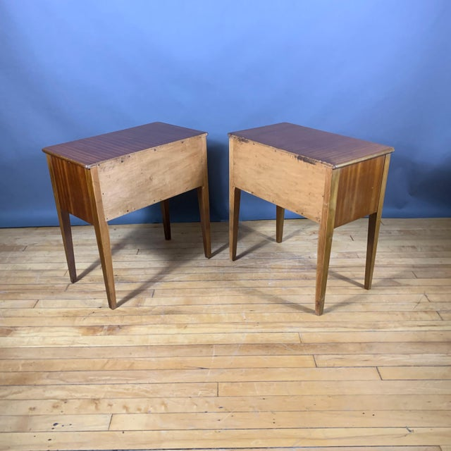 Metal Pair 1950s Drop-Front Nightstands, Mahogany & Brass For Sale - Image 7 of 9