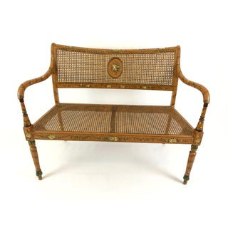 Venetian Style Caned and Hand Painted Loveseat Settee Preview