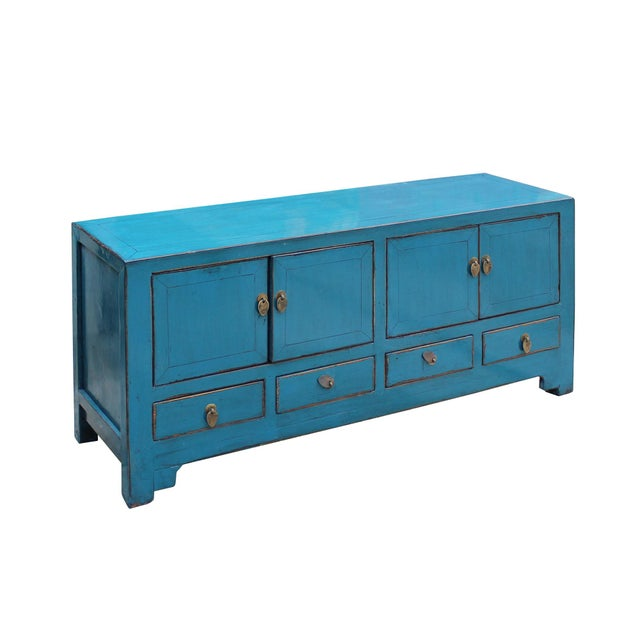 Chinese Distressed Blue Low Tv Console Table Cabinet For Sale In San Francisco - Image 6 of 9