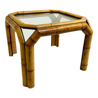 1970s Mid-Century Modern Elephant Bamboo Rattan End Table For Sale