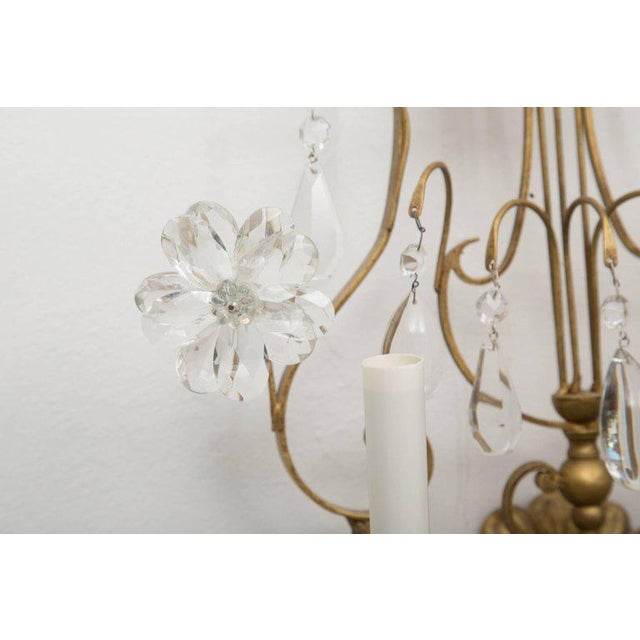 Crystal Pair of Italian Gilt Metal and Crystal Electrified Sconces For Sale - Image 7 of 9