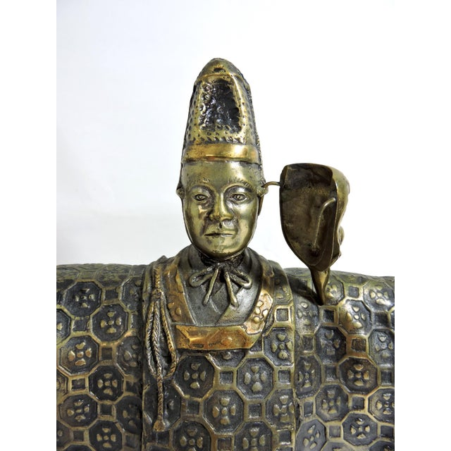 Vintage Japanese Brass 'Noh' Figure/Okimono Statue With Okina Mask For Sale - Image 9 of 13