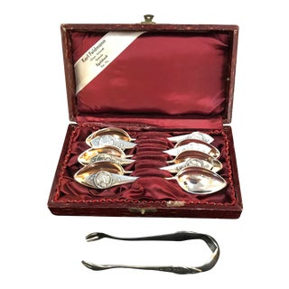 Art Nouveau Fairy Medallion European Silver Teaspoons & Sugar Tong Set For Sale