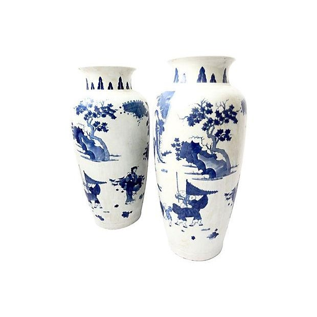 Hand-Painted Blue & White Vases, Pair - Image 4 of 9