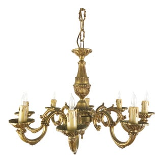 Mid 20th Century French 8 Arm Bronze Chandelier For Sale