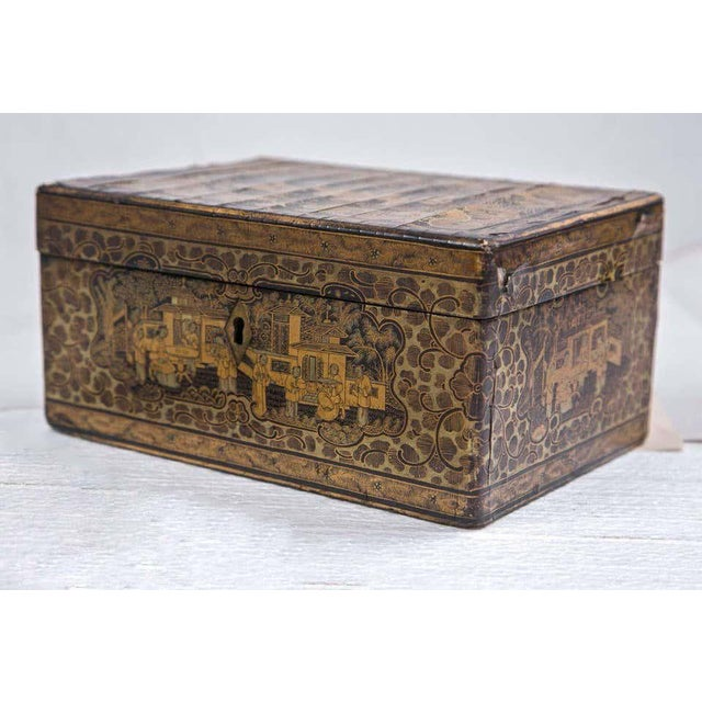 A beautiful finely made 19th century chinoiserie antique humidor that can be used as a jewelry box. Wonderfully decorated...