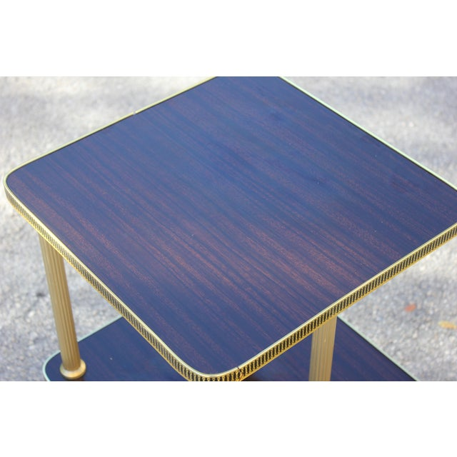 1940s Art Deco Mahogany and Brass Gueridon Side Table For Sale - Image 4 of 13