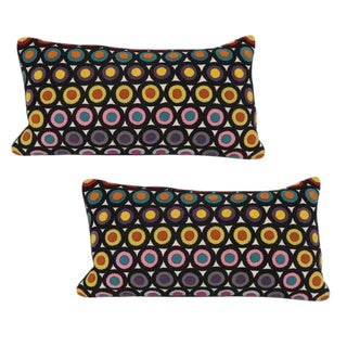 Pair of Vintage Penny Rug Wool Pillows For Sale