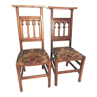 Antique Gothic Pew Chairs - a Pair For Sale