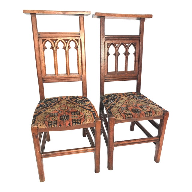 Antique Gothic Pew Chairs - a Pair For Sale - Antique Gothic Pew Chairs - A Pair Chairish