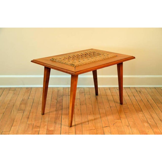 Rare Oak and Rope Side Table by Adrien Audoux and Frida Minet For Sale - Image 4 of 6