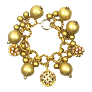 1980s Gold Tone Ball and Rhinestone Charm Bracelet For Sale