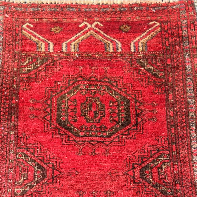 "Antique Turkaman Red Persian Rug - 1'10"" x 2'10"" - Image 4 of 7"