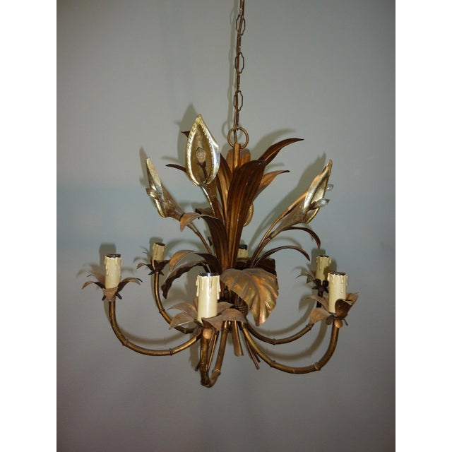 Italian Calla Lily 6-Light Gilded Chandelier - Image 4 of 7