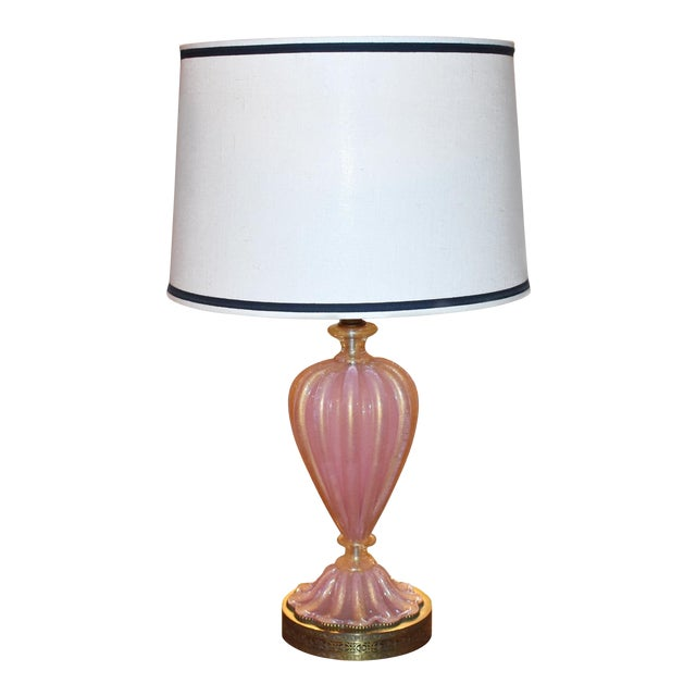 Italian Murano Pink and Gold Glass Table Lamp For Sale