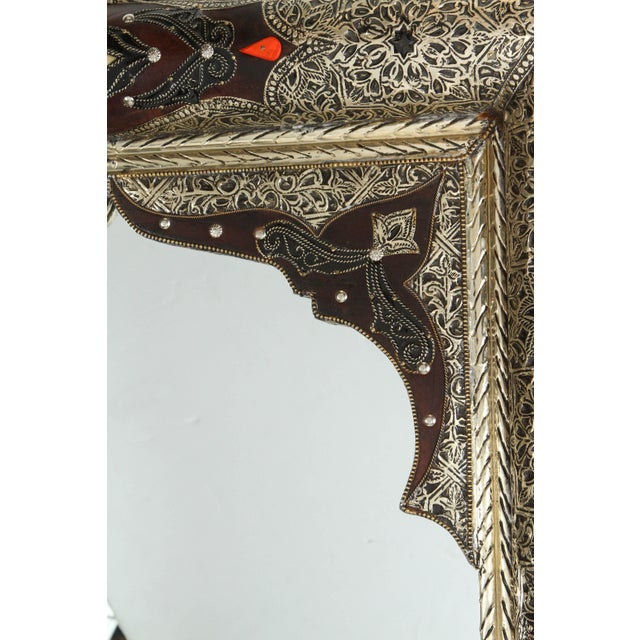 Pair of Moroccan Mirrors With Silvered Metal and Leather Wrapped For Sale In Los Angeles - Image 6 of 10