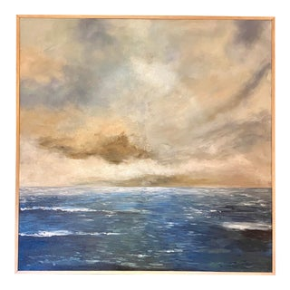 """Calm Sea"" Contemporary Seascape Acrylic Painting, Framed For Sale"