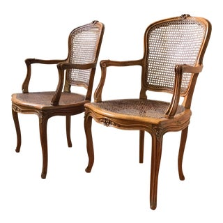 Antique French Louis XV Style Walnut and Cane Chairs-Pair