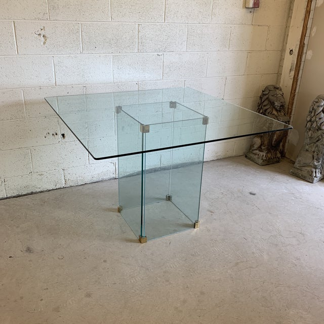 Pace Collection Square Glass Dining Table For Sale - Image 10 of 11