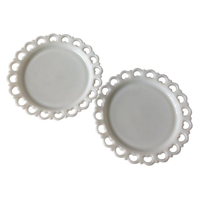 Lace Edge Milk Glass Cake Plates - Pair For Sale