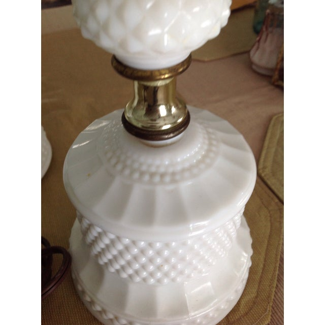 Antique White Hobnail Milk Glass Table Lamps - A Pair - Image 7 of 7