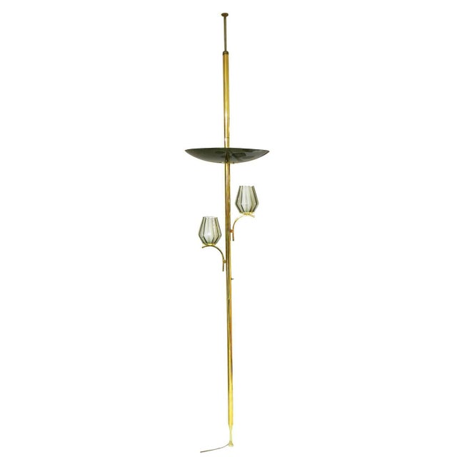 Brass Triple Light Floor To Ceiling Tension Lamp Chairish