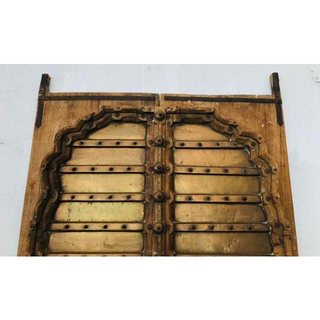Antique Indian Teak Wood Hand Carved Doors For Sale - Image 9 of 12