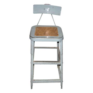 Industrial Metal Factory Stool With Back For Sale