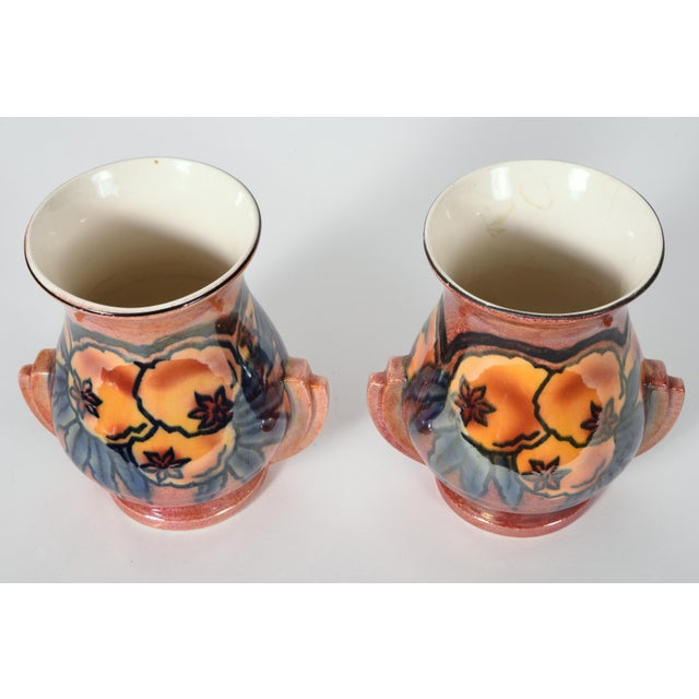 Vintage pair of English glazed art pottery vases / decorative pieces. Each vase is in excellent vintage condition, Maker's...