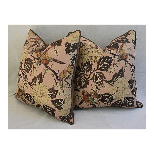 """Custom Chinoiserie Floral & Birds Feather/Down Pillows 26"""" Square - Pair For Sale In Los Angeles - Image 6 of 12"""